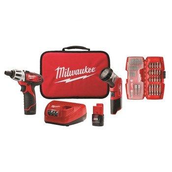 MILWAUKEE ELEC TOOL 2482-22 M12 12V Cordless Lithium-Ion 2 Tool Combo Kit with Bit Set