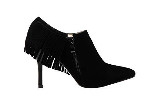 pointues frange de chaussures talon haut avec travail de femmes noir printemps Vitalo de élégantes fermeture le éclair qRtRT