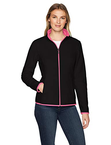 Amazon Essentials Women's Full-Zip Polar Fleece Jacket, Black/Pink, Medium