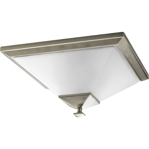 Progress Lighting P3852-09 2-Light Close-to-Ceiling with Square Etched Glass, Brushed Nickel