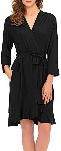 ELLEN TRACY Women's Short Wrap Robe, Black, S/M