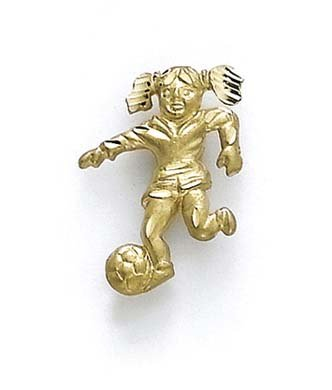 14k Yellow Gold Female Soccer Player Pendant