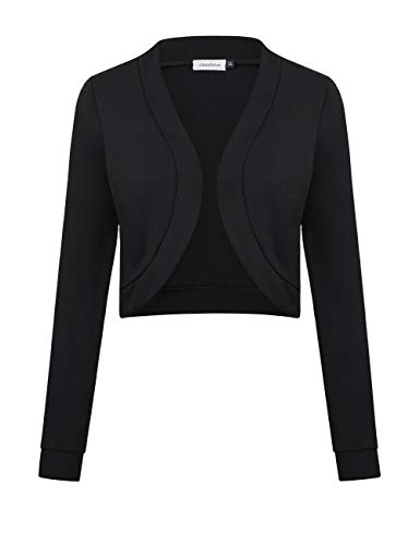 Clearlove Women's Long Sleeve Bolero Shrug Open Front Cropped Short Knit Sweater Cardigans (Black, XX-Large) from Clearlove