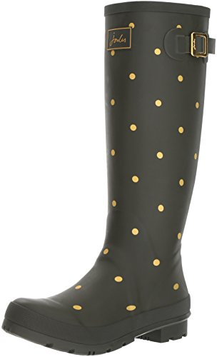 Joules Womens Welly Print Rain Boot Woodland Green/Gold Spot 1Ntn4