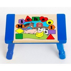 Personalized Farm Animals Puzzle Stool - Color: Blue Stool Top with Blue Legs