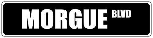 Liz66Ward Morgue Black Street Sign Road Yard Sign Metal Tin Wall Sign Plaque Novelty Door Sign Home Decor Funny Gifts -