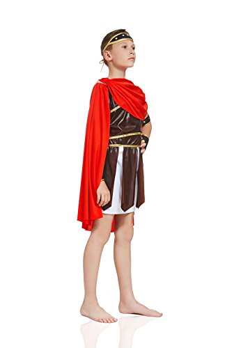 Kids Boys Roman Emperor Halloween Costume Gladiator Warrior Dress Up & Role Play (8-11 years, white, brown, red, gold) (Halloween Costumes Gladiator)