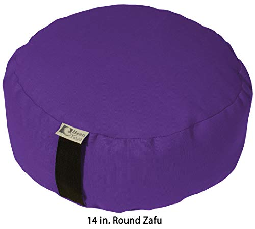 Bean Products Purple - Round Zafu Meditation Cushion - Yoga - 10oz Cotton -...
