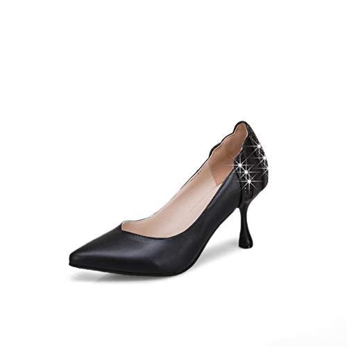 Boca Profundo Moda Gruesos Yukun Zapatos Solo Blanca con Grueso Zapatos tacón alto Individuales con con zapatos Black Fina de Poco Redonda Una fwZ7Uf