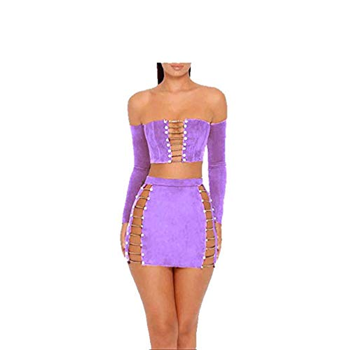 MAGICMK Suede Mini Long Sleeve Off Shoulder Club Sexy Party Dress (Purple, s) ()