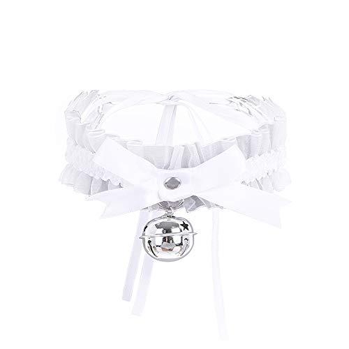 - AotengStar White Bell Choker Collar Necklace Lolita Bow Collar Cat Cosplay Kitty Velvet Collars