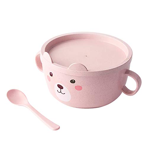 GD Gmgod❤️❤️Stainless Steel Noodle Bowl with Handle Food Container Rice Bowl Soup Bowls (Pink) ()