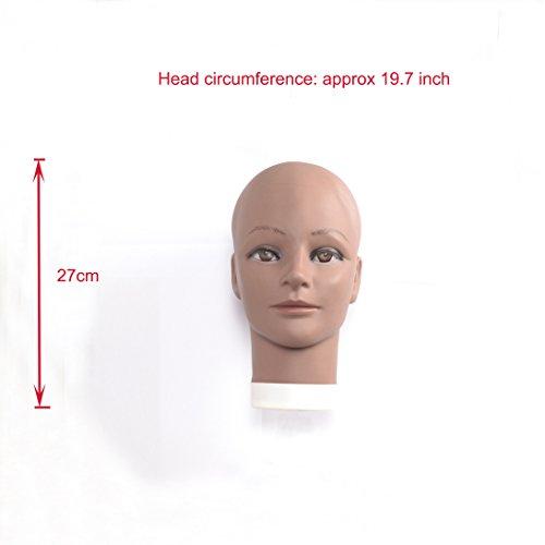 (rj05)Bald Female Mannequin Head Scarf Hat Cap Wigs Glasses Display Model,Black skin