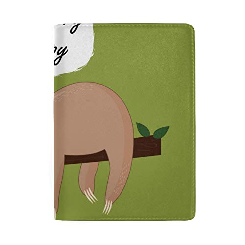 Cute Animal Doodle Art Balck And White Blocking Print Passport Holder Cover Case Travel Luggage Passport Wallet Card Holder Made With Leather For Men Women Kids Family