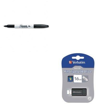 KITSAN30001VER49063 - Value Kit - Verbatim PinStripe USB 2.0 Drive (VER49063) and Sharpie Permanent Marker (SAN30001)