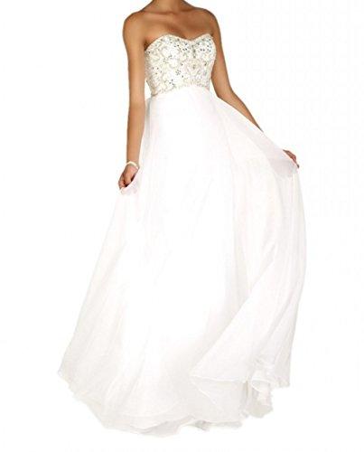 Tanzenkleider A mia Formal Weiß Formalkleider La Chifon Elegant Langes Abendkleider Festlichkleider Brau Linie Traegerlos Partykleider fnPw7TqpP