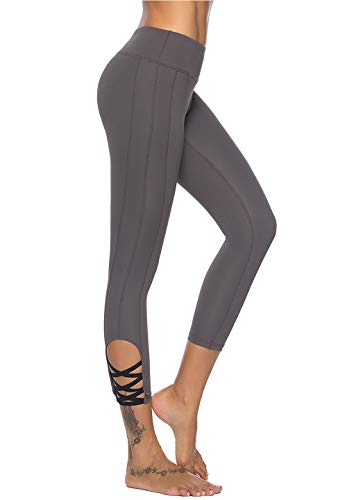Mint Lilac Women's High Waist Capri Workout Yoga Pants Athletic Tummy Control Leggings with Straps Small ()