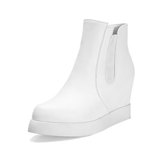 Elastic Womens Inside Boots Platform Imitated Band amp;N Leather White Heighten A IwCPHP