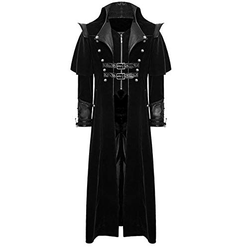 vavomy Mens Jacket Velvet Goth Steampunk Victorian Frock Coat Handmade