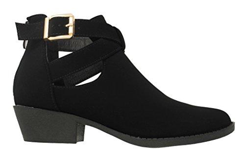 MVE Schuhe Cute Western Cowboy Bootie - Damen Spitzschuh Slip On Ankle Boot - Zurück Reißverschluss Low Heel Schwarz * j