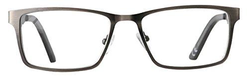 Eyecedar 5-Pack Reading Glasses Men Rectangle Frame Metal Grey Stainless Steel Material Spring Hinges Readers 2.50 by eyecedar (Image #3)