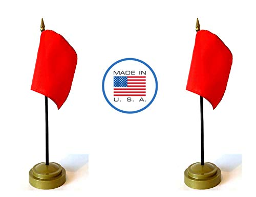 (Made in The USA Flag Set. 2 Red Racing Rayon 4