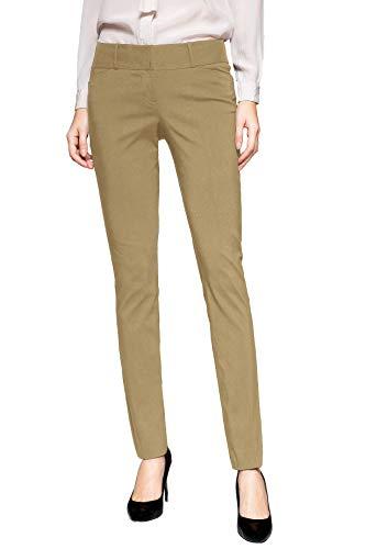 SATINATO Women's Stretch Pants Slim Fit Trousers - Khaki Dress Tan New Pants