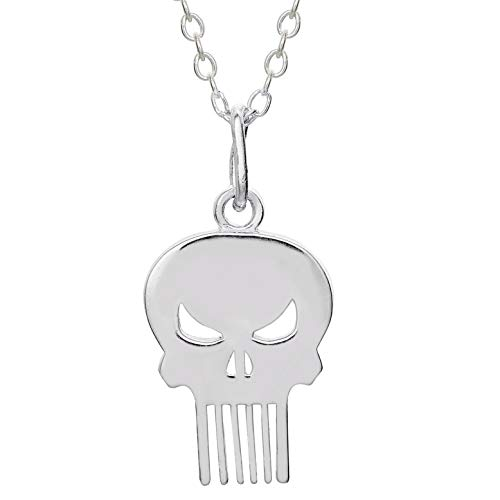 Marvel Offically Licensed Jewelry for Women and Girls The Punisher Superhero Logo Sterling Silver Pendant Necklace, 18