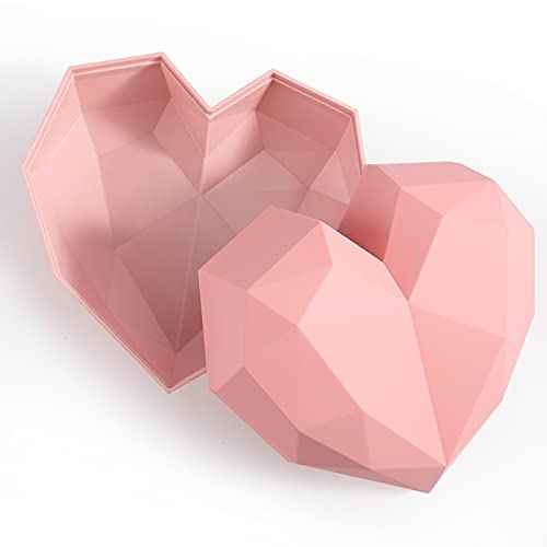 JOHOUSE Gift Box, 7.8Inches Pink Love Gift Box, Heart Shaped Storage Box for Womens Day Mothers Day Valentines Day Christmas Weddings and Home Decoration