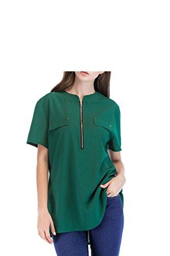 Da Yingsssq Top Con Camicetta Cerniera Ampia Chiffon Donna Dimensione shirt T E In Corta Camicia Verde L colore Oversize Manica Rosso 5pqnpgx