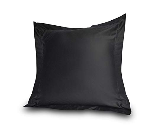 Acrilan Bedding Black Pillow Shams Set of 2 - Luxury 600 Thread Count 100% Egyptian Cotton (2 Pack, Euro 26x26)