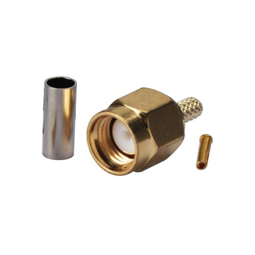 Eightwood RP-SMA Crimp Male (female pin) Connector Gold-plated for RG316 RG174 (pack of 10)