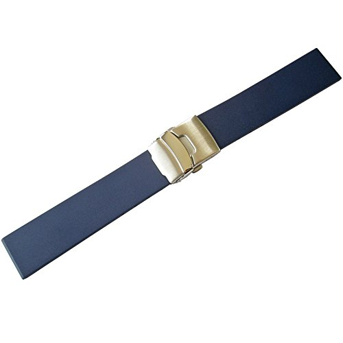 Bonetto Cinturini 20mm Blue Rubber Watch Strap Model 300L