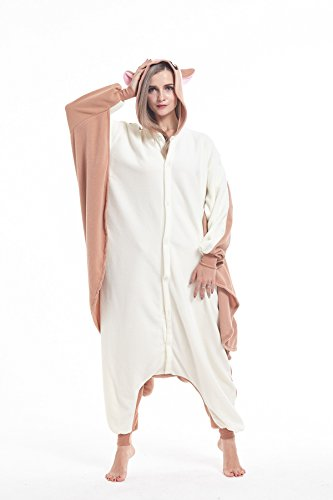 cosMonsters Adult Flying Squirrel Animal Onesie Costume Pajamas for Adults and Teens(Off-White,Small) ()