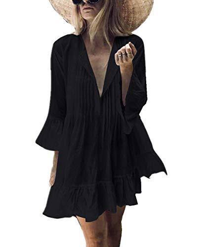 Camicia A Nero Spiaggia Cover Lunga Tunica Abito Bikini Scollo Donna Loose Da peach L Beachwear V Up Elegante qSYggt