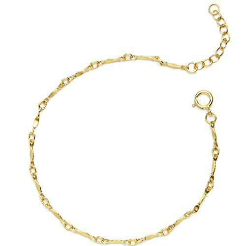 "- BENIQUE Bracelet for Women Girls – Dainty 14K Gold Filled Chain for Layering Stacking, Minimalist Jewelry, Made in USA, 6.5""-7.5"" Adjustable (Vintage/G)"