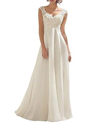 M Bridal Women's Beaded Lace Appliques Straps V-neck Bridal Beach Wedding Dress