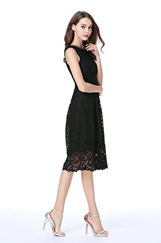Womens Fit Party VEIISAR Flare Lace Elegant Fashion Sleeveless Black Cocktail Dress 1qqA7