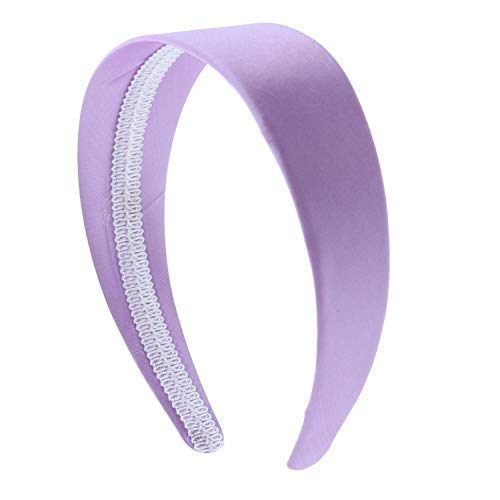 Lavender 2 Inch Wide Satin Hard Headband with No Teeth (Motique Accessories) (Lavender Hair Band)