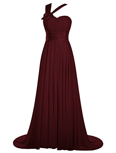 De Dresstells Gala Une Épaule Bordeaux Soirée Cérémonie Moyenne Traîne Robe 5w5qIrB