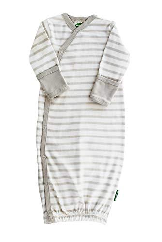 Parade Organics Kimono Gowns - Signature Prints Breton Stripe Grey 0-3 - Grey Stripe Baby
