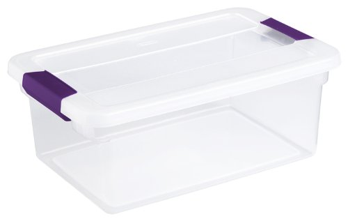 Sterilite 17531712 15 Quart/14 Liter ClearView Latch Box, Clear with Sweet Plum Latches, 12-Pack