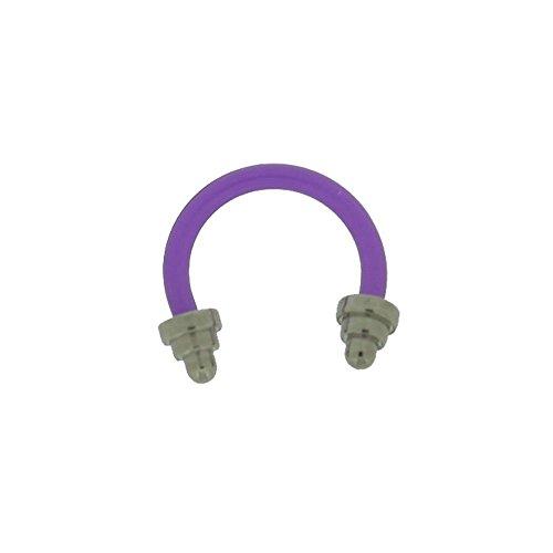 Piercing Fer à Cheval Acylique Violet Flexible 1.2x8mm Spikes Acier
