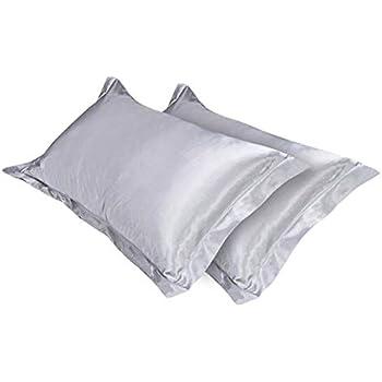 Amazon Com Sfoothome Silky Satin Silver Gray Pillowcases