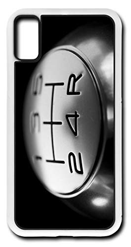 iPhone Xs Case Five Speed Gear Shift Knob Shifter Customizable by TYD Designs in White Rubber