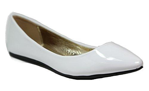 Walstar Dames Klassieke Puntige Teen Ballet Pu Slip Op Lakleder Flats Wit