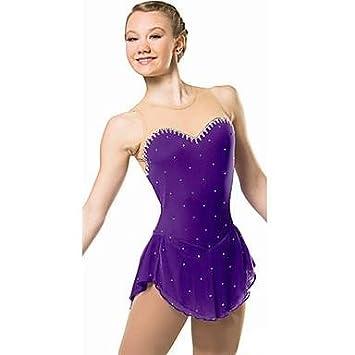 YAMEIJIA Vestido de Patinaje artístico Mujer Chica Patinaje Sobre Hielo Vestidos Violeta Pedrería Lentejuela Alta Elasticidad