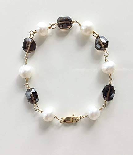 Quartz Bracelet Smoky Freshwater - Cultured Freshwater Pearl and Smoky Quartz Gemstone Bracelet 14K Gold Filled 7 Inches