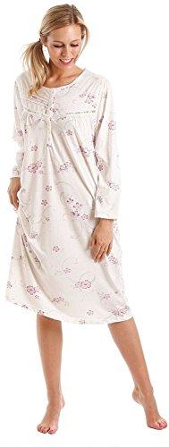 Traje de neopreno para mujer diseño estampado con flores interior de algodón Jersey Sábana Bajera con volante camisón de manga larga para morado