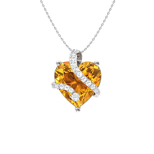 Diamondere Natural and Certified Heart Cut Citrine and Diamond Wrap Heart Petite Necklace in 14k White Gold   1.68 Carat Pendant with Chain Cut Citrine Heart Pendant